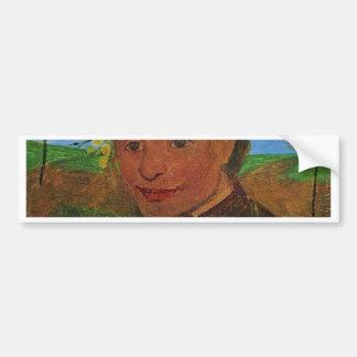 Self-Portrait Before Flowering Trees By Modersohn- Bumper Sticker