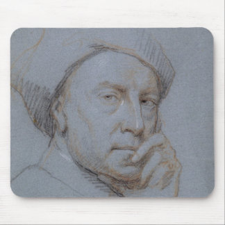 Self Portrait (black, red and white chalk on blue Mouse Mat