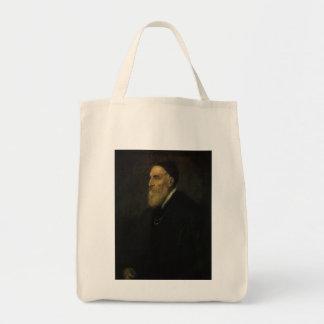 Self Portrait by Titian, Renaissance Art Grocery Tote Bag