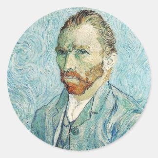 Self Portrait by Vincent Van Gogh Classic Round Sticker