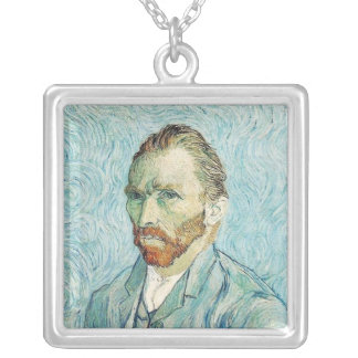 Self-Portrait by Vincent Van Gogh Square Pendant Necklace