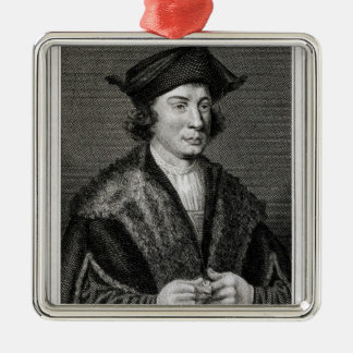 Self Portrait, engraved by J. Corner (engraving) Silver-Colored Square Decoration