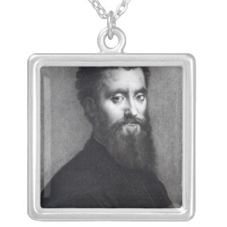 Self Portrait, engraved by Jean-Louis Potrelle Silver Plated Necklace