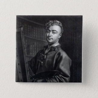 Self Portrait, engraved by John Faber, 1735 15 Cm Square Badge