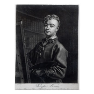 Self Portrait, engraved by John Faber, 1735 Poster