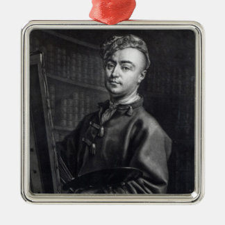 Self Portrait, engraved by John Faber, 1735 Silver-Colored Square Decoration