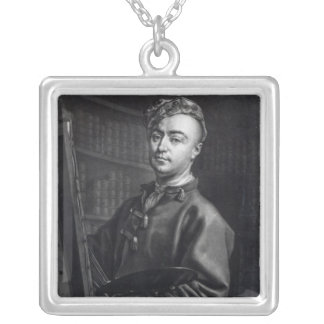 Self Portrait, engraved by John Faber, 1735 Silver Plated Necklace
