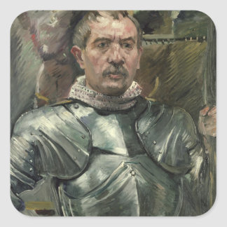 Self portrait in armour, 1914 square sticker
