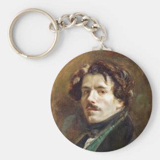 Self Portrait in Green Vest Basic Round Button Key Ring