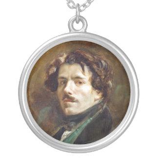 Self Portrait in Green Vest Round Pendant Necklace