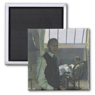 Self Portrait in the Studio, 1904 Square Magnet