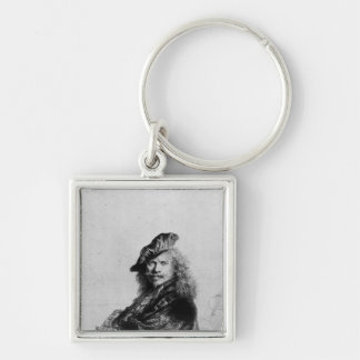 Self portrait leaning on a stone sill, 1639 Silver-Colored square key ring