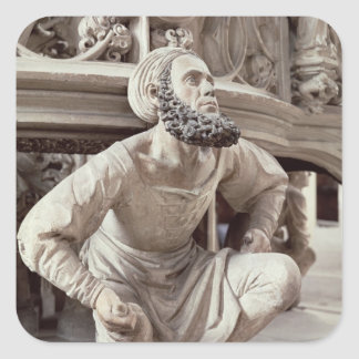 Self portrait of Adam Krafft , stone sculpture Square Sticker