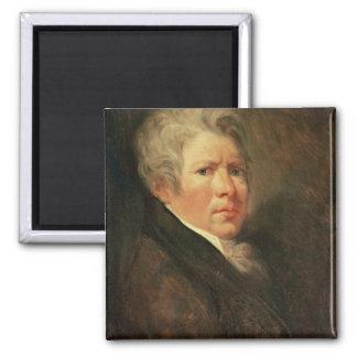 Self Portrait (oil on panel) Square Magnet