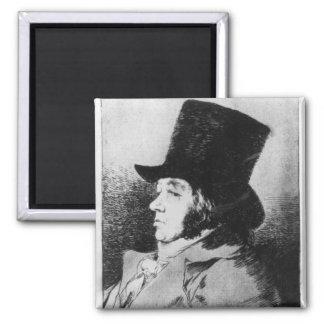 Self Portrait, plate 1 of 'Los caprichos' Square Magnet