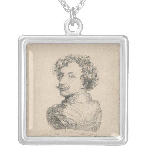 Self-portrait Square Pendant Necklace