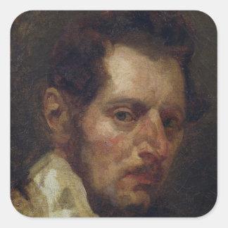 Self portrait square sticker