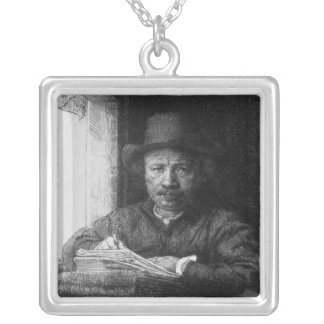 Self portrait while drawing, 1648 silver plated necklace