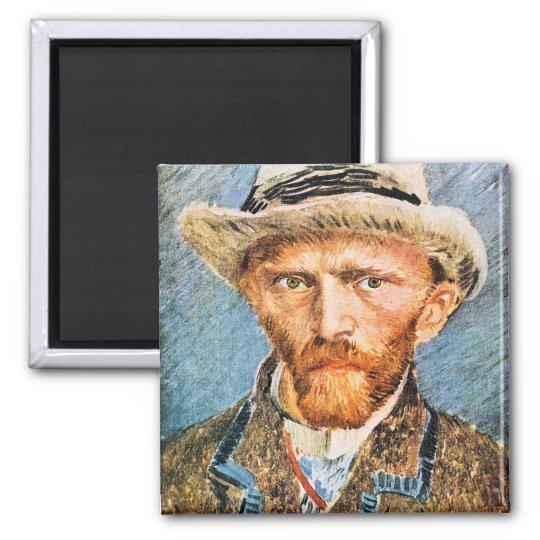 Self-portrait with a grey felt hat by van Gogh Magnet