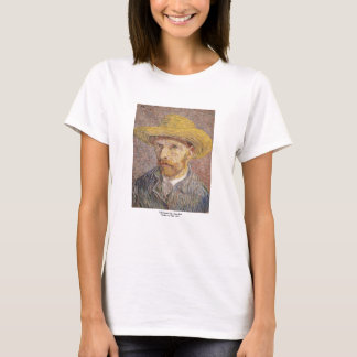 Self Portrait with a Straw Hat by Vincent van Gogh T-Shirt