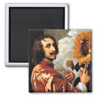 Self-Portrait with a Sunflower, 1632 artwork Square Magnet