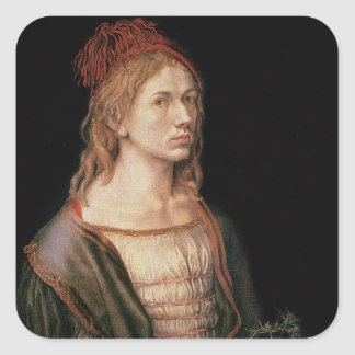 Self Portrait with a Thistle, 1493 Square Sticker