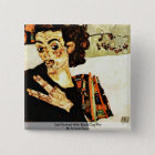 Self-Portrait With Black Clay Pot By Schiele Egon 15 Cm Square Badge