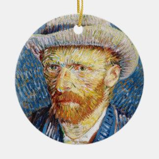 Self Portrait with Felt Hat Vincent van Gogh art Christmas Ornament