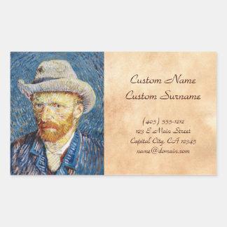 Self Portrait with Felt Hat Vincent van Gogh art Rectangular Sticker