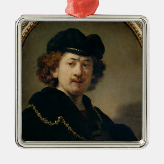 Self Portrait with Hat and Gold Chain, 1633 Christmas Ornament