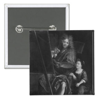 Self portrait with his son Charles 15 Cm Square Badge