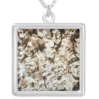 Self portrait with portraits of Giacomo Silver Plated Necklace