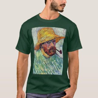 Self-Portrait With Straw Hat By Vincent Van Gogh T-Shirt