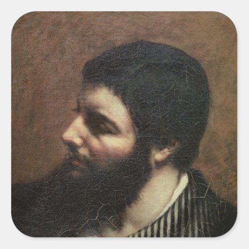 Self Portrait with Striped Collar Square Stickers