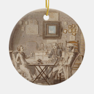 Self Portrait with Two Young Men (pen & brown ink Christmas Ornament
