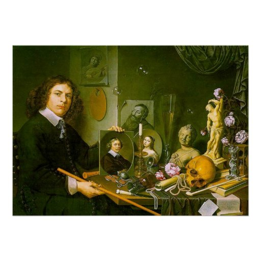 Self-Portrait with Vanitas Symbols Poster