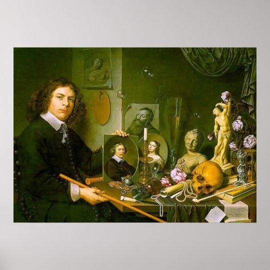 Self-Portrait with Vanitas Symbols Poster
