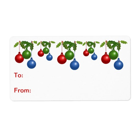 Self-Stick Gift Tag: Coloured Christmas Balls Shipping Label