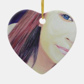 Selfie 2 ceramic heart decoration