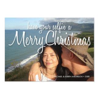 Selfie a Merry Christmas Photo Card: Horizontal Card