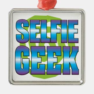 Selfie Geek v3 Silver-Colored Square Decoration