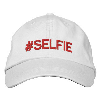Selfie #Hashtag Hat White Red