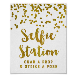 Selfie Station Wedding Sign Gold Confetti Poster