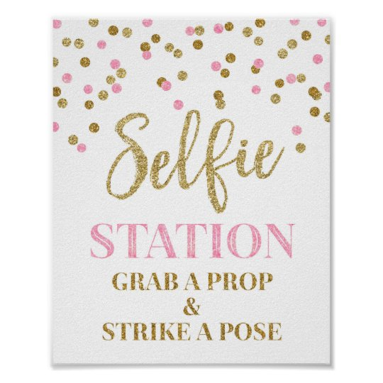 Selfie Station Wedding Sign Gold Pink Confetti Poster