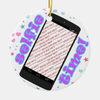 Selfie Time! Phone Shape Photo Frame Round Ceramic Decoration