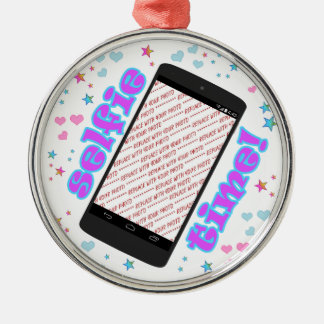 Selfie Time! Smart Phone Shape Photo Frame Silver-Colored Round Decoration