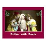 Selfies with Santa Cute Christmas Card Post Cards