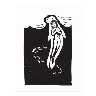Selkie in the ocean postcards