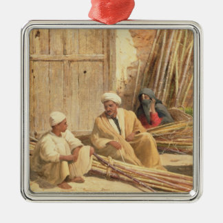 Sellers of Sugar Cane, Egypt, 1892 (oil on canvas) Silver-Colored Square Decoration