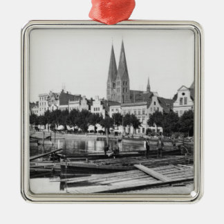 Selling wood on the River Trave, Lubeck, c.1910 Christmas Ornament